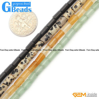 """4x6mm Assorted Stones Column Tube Beads For Jewelry Making Free Shipping 15"""""""