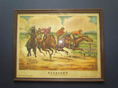 KESSLER'S WHISKEY BAR SIGN HORSE RACE Close Finish Point of Sale Display c@ 1935