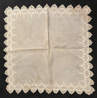 Antique Wedding Handkerchief Hanky Pre Civil War, 1850