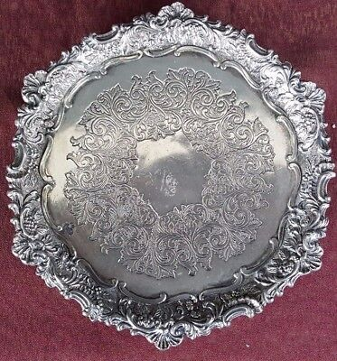 """Rare Antique FB Rogers Silverplate 6"""" Footed Tray - Beautiful Designs"""