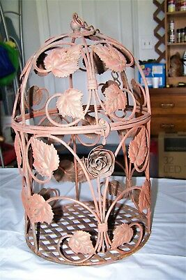 Vintage Metal Bird Cage With Lift Top & Roses/Leaves Nice