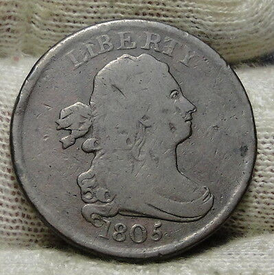 1805 Draped Bust Half Cent - Nice Coin, Free Shipping  (5860)