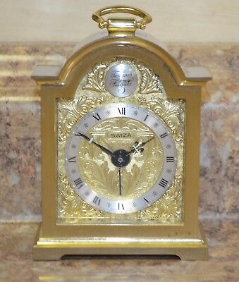 *Vintage Tempus Fugit Swiza Swiss Brass Carriage Desk Mantle Alarm Clock Works