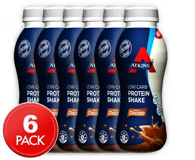 6 x Atkins Low Carb Protein Shake Smooth Chocolate 330mL