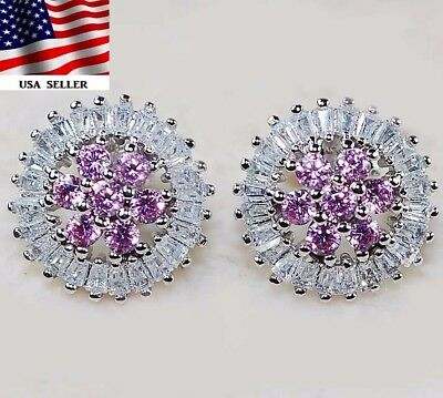 3CT Pink Sapphire & Topaz 925 Solid Genuine Sterling Silver Earrings Jewelry