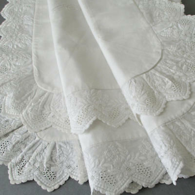 """Antique HM Victorian Whitework 32"""" PILLOW Topper Broderie Anglaise Monogram """"F"""""""