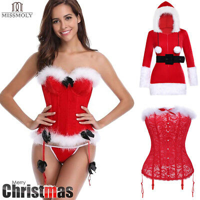 US Christmas Corset Bustier Overbust Sexy SANTA Costume Lingerie Party Xmas Gift