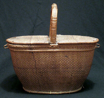 1800s Scarce SHAKER Sewing Basket Lunch Picnic Basket Two Lidded Ash Willow N/R
