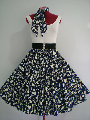 "ROCK N ROLL/ROCKABILLY ""Musical Instruments"" SKIRT-SCARF M-L Navy Blue/White."