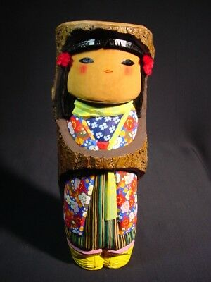 Vintage Kokeshi Doll by Iseki Spirit of Snow Children Wood Bark Snow Cape