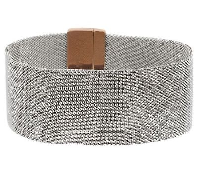 Bronze Two-Tone Stainless Steel Mesh Average Bracelet w/Magnet