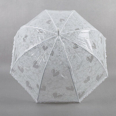 Ladies Wedding Clear Automatic Dome Umbrella with White Lace Print & Frill Trim