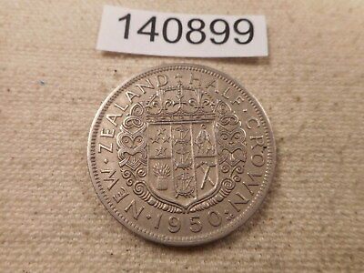 1950 New Zealand Half Crown Collector Raw Album Grade Coin - # 140899 Cleaned