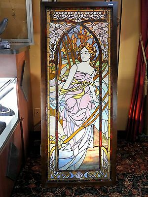 Stained Glass Window Art Nouveau Antique Lady Style of Alfonse Mucha Artist