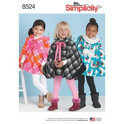 Simplicity Sewing Pattern Child's Ponchos Size S - L 8524