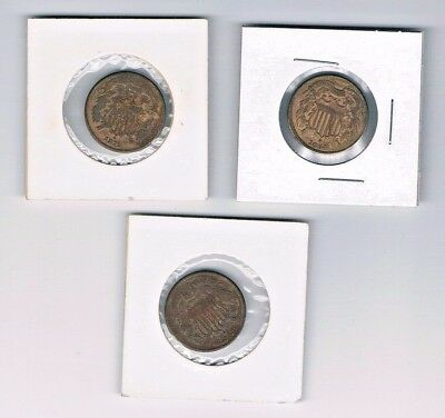 Lot of (3) U.S. TWO 2-cent pieces : 1868, 1864, 1871