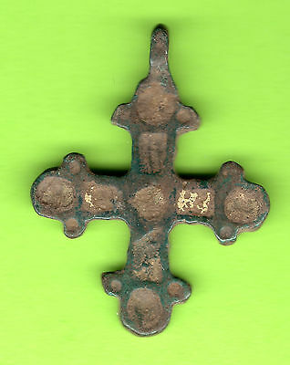 Russia Kiev type Bronze Enamel Cross Pendant Viking time 10-12th ca 1100 AD 447