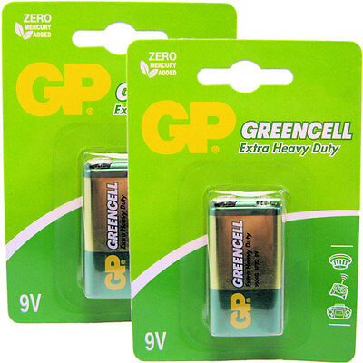 2 x GP Greencell 9V PP3 MN1604 6LR61 Zinc Batteries