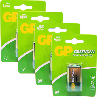 4 x GP Greencell 9V PP3 MN1604 6LR61 Zinc Batteries