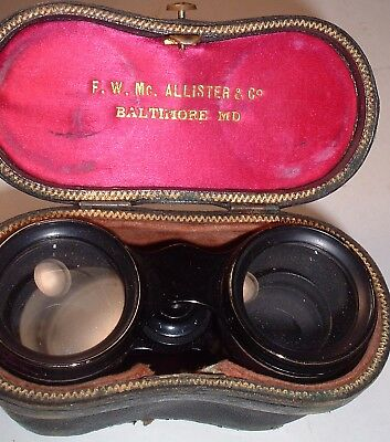 F.W. McALLISTER Baltimore MD Field /Opera Glasses BINOCULARS 1800's Bee Button
