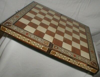 VINTAGE INLAY WOOD PEARL TURQUOISE FOLD OUT GAME BOARD BOX beautiful old piece
