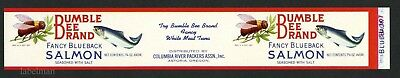 BUMBLE BEE Brand, Astoria, Oregon, Salmon, Columbia, *AN ORIGINAL TIN CAN LABEL*