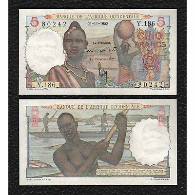 French West Africa P-36  21.11.1953 5 Francs-Crisp Uncirculated