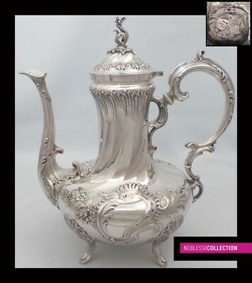 LUXURIOUS ANTIQUE 1880s FRENCH FULL STERLING SILVER TEA/COFFEE POT Rococo style