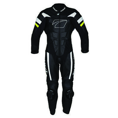 Spada Curve Evo 1 One Piece Leather Motorcycle Racing Suit - Black/White/Fluo