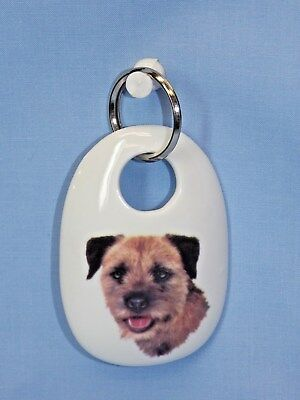 Border Terrier Dog Porcelain Key Chain Fired Head Decal Handmade