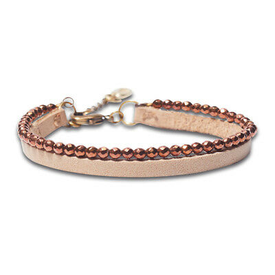 Noosa Women's Wrist Band Raw Romance Hematite Leather Strap One Size Cognac