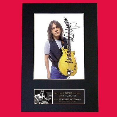 MALCOLM YOUNG ACDC (Very Rare) Signed Autograph Mounted Photo RE- PRINT A4 690