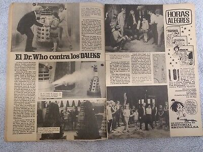 Dr Who & The Daleks -Ultra rare 1965 2 page Spanish magazine article with photos