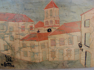 1973 OIL PAINTING on LEATHER sgnd DIAZ VTG MID CENTURY VILLAGE -MEXICAN FOLK ART