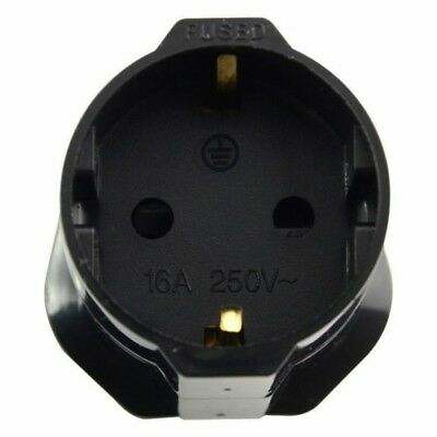 Travel Adaptor plug Germany to UK power adapter Black Shuko UK 3 pin socket