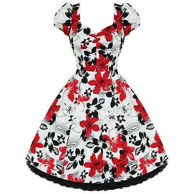 Ladies Womens New Red White Floral 50s Vtg Rockabilly Swing Party Prom Dress UK