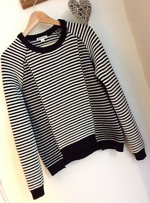 WHISTLES Ladies M 12/14 Striped Black White Lambswool Tunic Jumper Top EX COND