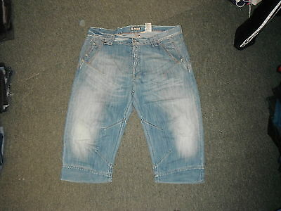 """And & Fit Relaxed Shorts Jeans Waist 38"""" Leg 19"""" Faded Medium Blue Mens Shorts"""