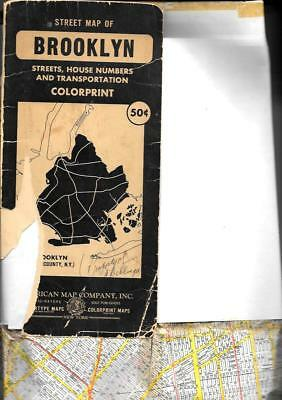 """Old STREET MAP OF BROOKLYN - American Map Co. 1950 +/-  about 24 x 38"""" folded"""