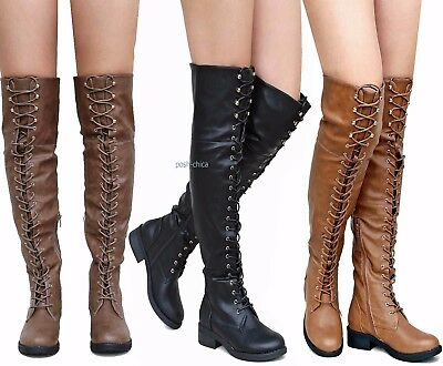 94faaccb3a83 New Women Rme Black Tan Taupe Combat Military Over Knee Lace Up Riding Boots