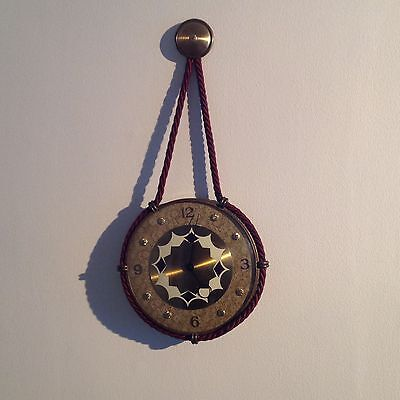 1950's SMITHS 8-DAY HANGING ROPE WALL CLOCK - WORKING
