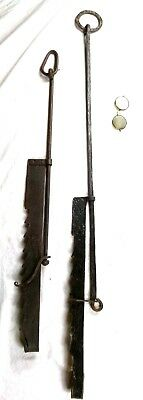 2 Authentic Antique Fire Hearth Cooking Hangers Iron Kitchen Tool Pot Cranes