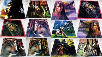 Wall Picture Fabric ART Thick Cotton Apache Red Indian Wolf Horses 1PC