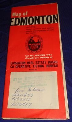 BR1629 Vtg 1960 Edmonton Alberta Real Estate Board Travel Road Map