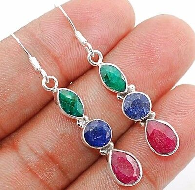 """4CT Earth Mined Sapphire 925 Solid Sterling Silver Earrings Jewelry 2"""" Long"""