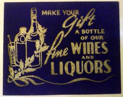 """Vtg 11x14"""" General Store Blue Trade Sign Wines & Liquors for Christmas c1930s"""