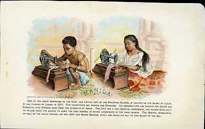 1892 Singer Sewing Machine Chromolitho Trade Card 130 Costume Of PHILIPPINES
