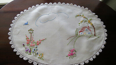 Exquisite Vintage Cream Embroidered Large Table Centre Doily - Blue Bird/Garden
