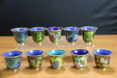 Very Fine Vintage Chinese cloisonne enamel Cups 10 Cups .