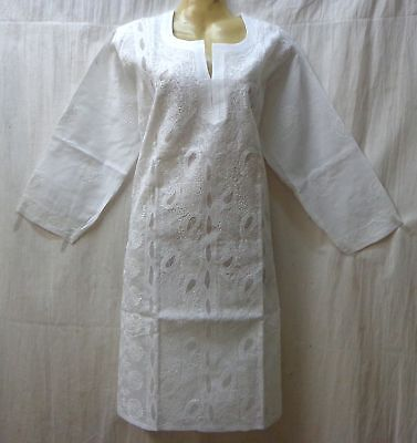 "BRAND NEW Kurti Top Dress BUST 38"" cotton Lukhnowi Kg14 White #ABNHL"